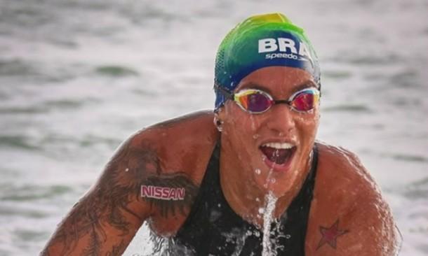 maratona aquática marcas no pódio