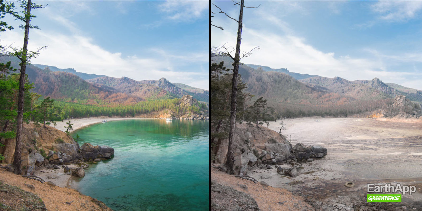 O lago Baikal, na Sibéria, ficaria muito quente e suas árvores totalmente secas.